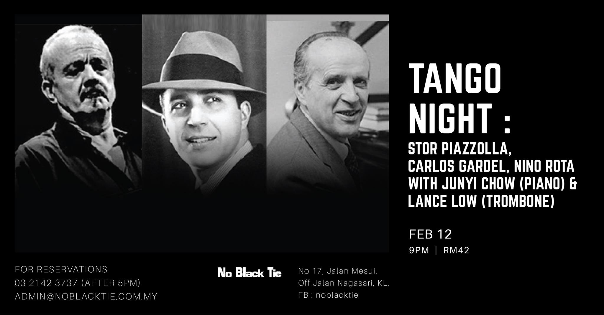 FEBRUARY 12: Tango Night at No Black Tie