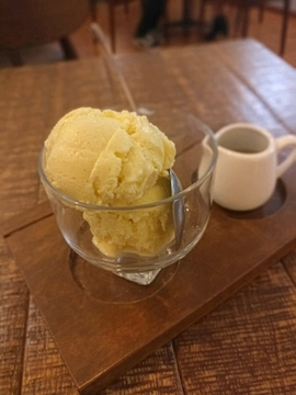 Hojicha Affogato dessert at 95 Degrés Art Cafe